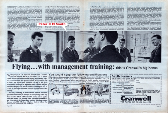 Peter R.M.Smithin RAF Cranwell advertisement.