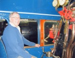 Mike Schmidt - 2015 - Sat in the cab of the mallard steam locomotive at the National Railway Museum in York.