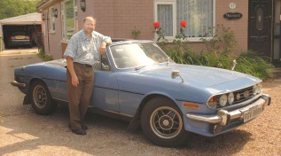 Kevin Saggers with his vintage Triumph Stag