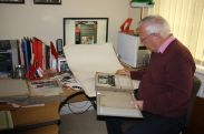 Rod Dengate in his study, cataloguing and sorting the CVTHS Arch