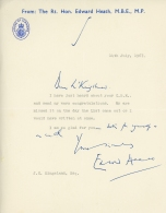 Letter from Rt Hon Edward Heath