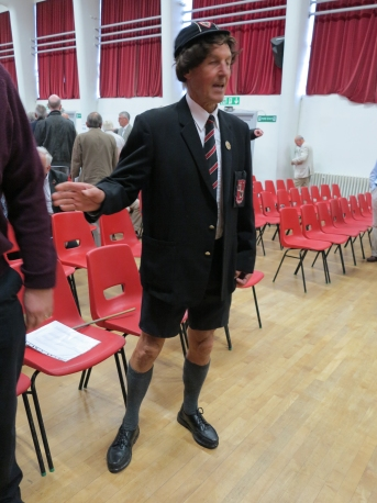 Adrian Appley in usual good form (We all wonder if he travelled home on the bus like this!)