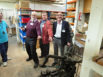 John Francis (Special Guest – The Archive Finder!) trying to explain the workings of the power saw to Hugh Armstrong and Graham Mitchell (Both 1962)