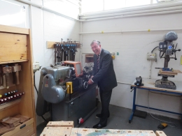 Richard Sales (1962) using the only remaining lathe!