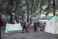 Roger Harden at the camp site in Paris,