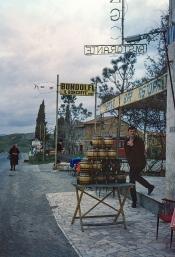 Peter Bennett outside an Italian cafe