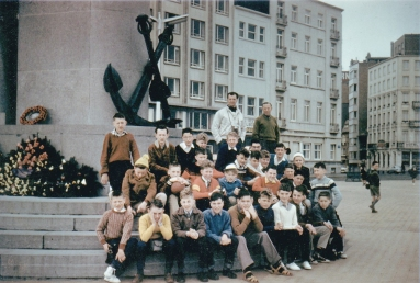 This group photo was taken around Easter 1961 and is located at the Seamen's Memorial column on the Albert I Promenade in Ostend. The group of 2nd and 3rd year boys were accompanied by regular staff compatriots Martin Carr and Frank Hargreaves. The group stayed at the Albert Hotel on the front and apart from local sight-seeing and activities a trip was arranged to Brussels to see the Atomium, Manneken Pis in Brussels, Middleburg Market in Holland and other highlights.
