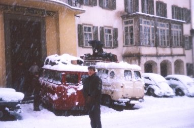 After literally pushing the vans through 6-foot snow drifts we made it to the Hotel Poste, without advance reservations I imagine. Harden poses while other souls get the bags off the roof. We slept on matresses in the staff quarters on the top flor.