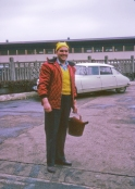 A colourful Mr Gale despatched to collect water for an overheated Dormobile - and we hadn't even reached Brussels!