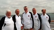 """Class of '59, fifty years reunion trip in March 2009 cruising the Amazon and Caribbean. Left to right, Phil """"Harry Room"""" Proom, Alan """"Al"""" Benn, Ian """"Louis"""" Chalmers, Andy """"Dales"""" Daley and Ian """"Spanner"""" Hunt."""