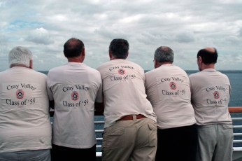 """Class of '59, fifty years reunion trip in March 2009 cruising the Amazon and Caribbean. Right to Left, Phil """"Harry Room"""" Proom, Alan """"Al"""" Benn, Ian """"Louis"""" Chalmers, Andy """"Dales"""" Daley and Ian """"Spanner"""" Hunt."""
