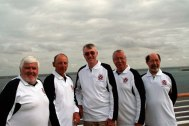 "Class of '59, fifty years reunion trip in March 2009 cruising the Amazon and Caribbean. Left to right, Phil ""Harry Room"" Proom, Alan ""Al"" Benn, Ian ""Louis"" Chalmers, Andy ""Dales"" Daley and Ian ""Spanner"" Hunt."