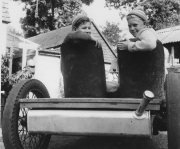 John Woodhouse and John Hinckley in JW's homemade car.