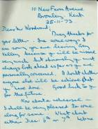 William Overton, Principal Trumpet in the BBC Symphony Orchestra and Bandmaster of the Lewisham Citadel Band of the Salvation Army, writes to Peter Woodward in November 1973 to express his good luck for the future. William Overton helped tutor the Band.