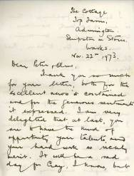"John Kingsland writes a personal congratulatory letter to Peter Woodward and his wife Olive. "" I am very delighted that at last, you are to have the kind of opportunity your talents and hard work so richly merit""."