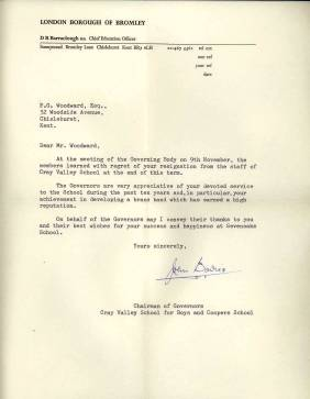The Chairman of Cray Valley School Governors writes to Peter Woodward expressing their appreciation of his devoted service during the past ten years and in particular his achievement in developing a brass band which has earned a high reputation.