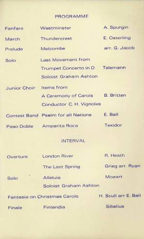 A full programme for the 14th December 1971 Christmas Concert features the Band and the Junior Choir. Graham Ashton is the soloist for Telemann's Trumpet Concerto in D and Mozart's 'Alleluia'. The Junior Choir perform under the baton of Mr Vignoles.
