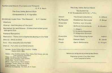 "The 1972 season ended with the Band, the Choir - under Mr Vignoles - and the School Orchestra giving two performances for their December 1972 Christmas Concert 'Voices & Brass'. A ""glorious finale to a busy term"" is reported in the 1973 edition of 'The Rook'."