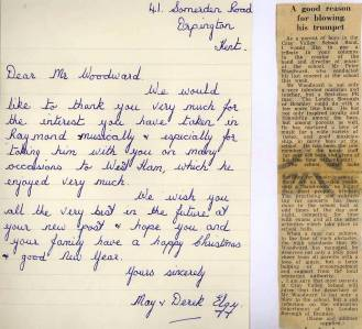 A personal handwritten letter and one to the press pay tribute to Peter Woodward and what he had achieved at Cray Valley.