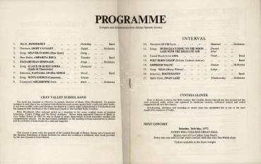 The programme for the 5th May 1973 'Saturday Night is Music Night' shows both the repertoire for the evening and gives a brief biography of Peter Woodward and the Cray Valley Band.
