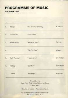 The programme for the Cray Valley Band's music played at Twickenham on 21st March 1973.