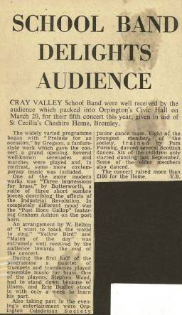 'School Band Delights Audience' - the press report of the Band's performance at the Orpington Civic Hall on 20th March 1973 at which more than £100 was raised for the St. Cecilia's Cheshire Home, Bromley.