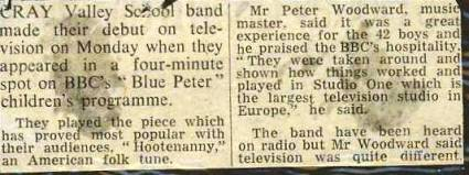 And the press report on the Band's 'Blue Peter' performance.