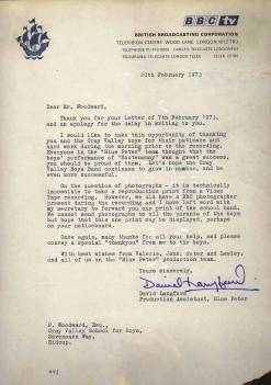 "The programme's Director, David Langford, writes to Mr Woodward thanking him and the Band. ""Everyone in the 'Blue Peter' team thought that the boys' performance of 'Hootenanny' was a great success and you should be proud of them""."