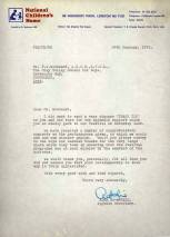 Mr Woodward receives a sincere 'THANK YOU' both to himself and the boys for their splendid support. The letter from the National Children's Home goes on to say that they had received a number of congratulatory comments on the performances given.