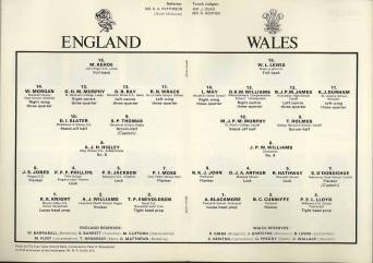Shown here are the teams playing in the 22nd March 1972 Rugby Football Schools' Union England versus Wales Rugby Match, together with a reference to the Band and to Peter Woodward. This was an excellent example, contrary to popular belief, of the co-operation that existed between Messrs Woodward and Carr, Martin Carr being instrumental in arranging for the Band to perform at this occasion.
