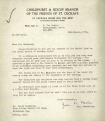 "Mr Woodward receives a letter from the friends of St. Celia's thanking him both for the Band's performance – ""the enthusiasm put me very much in mind of an evening at the Proms"" – and Mr Vignoles and the choir ""for coming along and adding to the enjoyment of the evening""."
