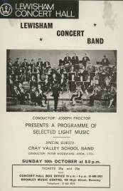 This poster advertises the Cray Valley School Band as special guest performers on Sunday, 10th October 1971 in a programme of selected light music presented by the Lewisham Concert Band.