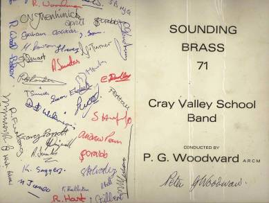 This copy of the 1971 'Sounding Brass' first night programme must be a collectors item, featuring the autographs of Peter Woodward and the Band members of that time.