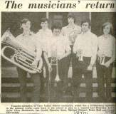 The press cutting from July 1971 shows the return to Cray Valley of Clive Menhinick, Ian Gould, Timothy Isom, Michael Palmer, Peter Hall and Graham Thornhill who, as founder members of the Band, returned to play in the 'Sounding Brass' concert.