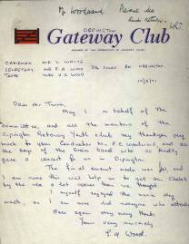 The Orpington Gateway Club writes a letter of thanks to the School for the Band's performance at the Orpington Gateway Youth Club. The amount raised on that evening was recorded as £41.