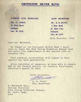 "In December 1970 the Hon. Secretary of the Orpington Silver Band thanks Mr Woodward for the Cray Valley Technical School Band's ""fine performance"" at the concert."