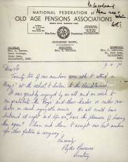 "In April 1970 the School received this thank you letter from the Chislehurst branch of the National Federation of Old Pensions Associations. They had attended at the School to listen to a Band Concert. They ""could have listened all night…"""