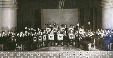 The Band resplendent on the stage in the Cray Valley Assembly Hall. This picture also features in the 1970 Edition of 'The Rook'.