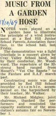 In October 1969, using a garden hose, the Red Hill Junior School Parents Association audience received a demonstration of the principle of a wind instrument.