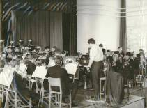 1969 - Peter Woodward rehearses the joint Cray Valley and Ringmer Bands in the Assembly Hall at Cray Valley.