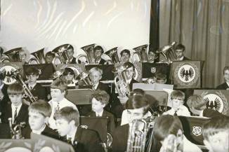 1969 - The following sequence of photographs shows the combined Cray Valley and Ringmer Brass Bands performing. Note each School's banners displayed on the music stands.