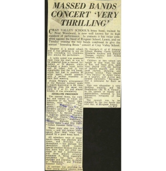 "The resulting press report of the 1969 'Sounding Brass' concert describes it as ""Very Thrilling"" and ""there was absolute precision and first-class tone, throughout …"" These are just two of the accolades. The report was also reproduced in the 1970 edition of 'The Rook'."