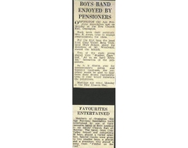 This is a press report on the Band's performance for the Orpington Old Age Pensions Association at All Saint's Church Hall, Orpington. 36 boys played at this occasion.
