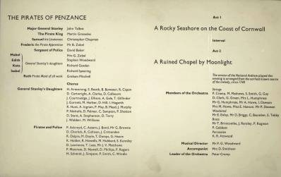 The inside of the Programme for Gilbert and Sullivan's 'Pirates of Penzance', performed on 20th and 21st July 1964 with Mr & Mrs Zobell taking the lead parts. The producer was Mr John Carbery. The female roles were taken by the boys.