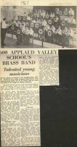 "The press report of the 1967 Sounding Brass evening which concluded ""A delightful evening with every aspect of it produced with real skill and expertise. Even the attractive programmes were produced on the School's press. This Band is surely destined for great things and should now be thinking of entering the Band contest field""."