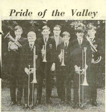 'Pride of the Valley' - the accompanying press photograph. Left to Right: Michael Palmer, Thomas Hayward, David Tapsell, Mr P G Woodward, Graham Thornhill, Timothy Isom and Ian Gould.
