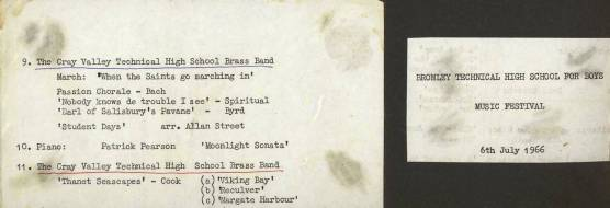 And here is the programme for the Band's performance on 6th July 1966 at Bromley Technical High School for Boys.
