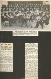 Here are three press cuttings including a picture (top) and coverage of the very early days of the Brass Band.