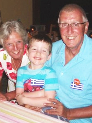 Michael with wife Mandi and grandson - living in Argalasti, Greece 2017